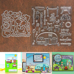 Eat Sleep Camp Cutting Dies & Stamps Set   RV Trailer Bike Picnic Grill & More