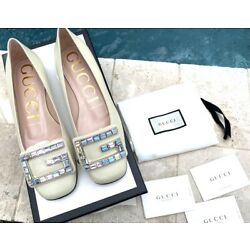 GUCCI MADELYN FLATS CRYSTAL G BUCKLE WHITE LEATHER Euro 36, US 5.5