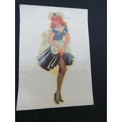 Vintage Decal Transfer Sexy Maid Pin-Up Art w/ Fishnet Stockings