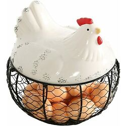 MyGift Metal Mesh Wire Egg Storage Basket with Ceramic Chicken Top and Handles