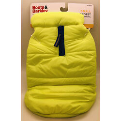 NWT BOOTS & BARKLEY Puffer Dog Vest Neon Yellow Fleece Lined Small