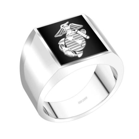 img-US Jewels Men's 0.925 Sterling Silver Solid Back us Marine Corps USMC Ring