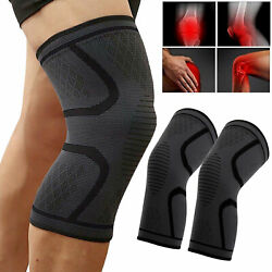2 Knee Compression Brace Sleeve Support Sport Joint Injury Pain Relief Arthritis