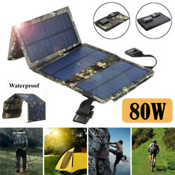 80W USB Solar Panel Folding Power Bank Outdoor Camping Hiking Phone Charger US