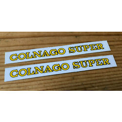 NOS Colnago Super Chainstay Decal Pair ,Yellow, Original Not Repro, 1970s