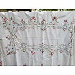 Kyпить Vintage White Tablecloth Embroidered Floral Crochet Lace Inserts 63