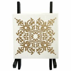 Vintage Mactac Self-Adhesive Deco-Tiles Tile Decal Stickers Gold Snowflake, 4x4''