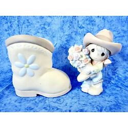 Precious Moments - ''You Bet Your Boots I Love You'' - Gift Set with Vase - NIB