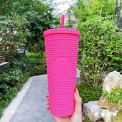 2021 China Starbucks Barbie Pink Matte Studded Straw Cup 24oz Limited Edition