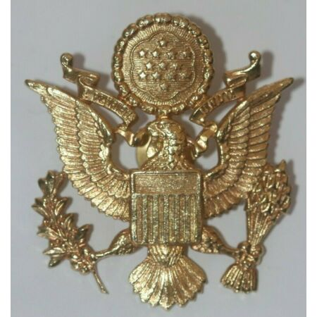 img-US ARMY ORIGINAL CURRENT ISSUE OFFICER'S CAP BADGE GILT METAL AS WWII PATTERN