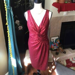 DAVID MEISTER Women s Dress Size 10 Large Red Sequin Cocktail Party Club NWT NEW