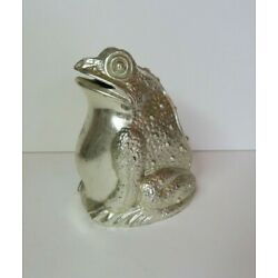 Vintage Frog Coin Bank, silver plate metal, 3.5 inches tall, Japan