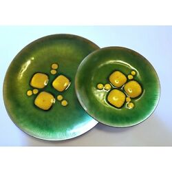Annemarie Davidson Abstract Enamel on Copper Jeweled Dishes, Mid-Century Pair