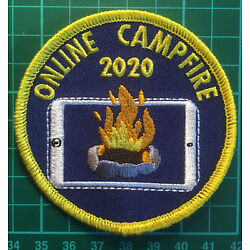 Virtual Online Camp Fire 2020 Badge Patch Lockdown Scout Guide Sew On Blanket