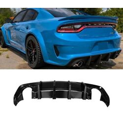 Fits 20-21 Dodge Charger Wide-Body Shark-Fin Style PP Glossy Black Rear Diffuser