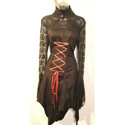 BNWT RAVEN GOTHIC HIGH NECK COTTON & RED OR PURLE LACE DRESS   VICTORIANA