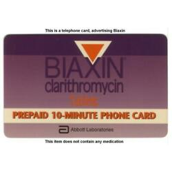 10m Biaxin (Clarithromycin Tablets). Adv. By Abbott Labs. Promo Phone Card