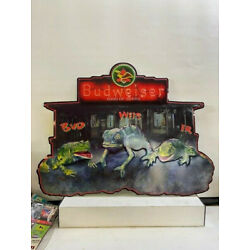 Budweiser 1999 Frogs Chameleon Embossed Metal Sign ~ BUD - WEIS - ER - NEW 32x24