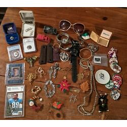 Vintage Junk Drawer Lot Coins NGC Cards Beckett Watches Silver Jewelry