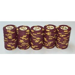 100 $5 Holiday in Reno H-mold Casino Poker Chips - Vintage Clay Rare One Rack