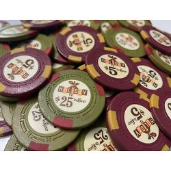 300 HOLIDAY IN RENO Casino Chips Rare Set H-mold $5s and $25s Poker, Clay.
