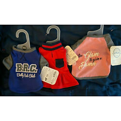 3 BOND & CO. XXS-DOG OUTFITS-RED DRESS, B.R.C.-BELLY RUB CLUB & PINK-THE GLAM TO