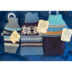 3 BOND & CO. WINTER SWEATERS FOR XXS DOG-9-12'' IN SHADES OF BLUE