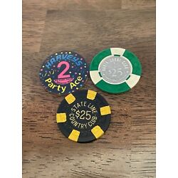 Lot of 3 Vintage Lake Tahoe 2 $25 and one $2 Party Ace Casino Chips