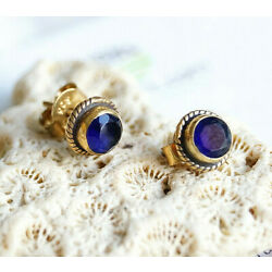 Vintage Design Studs 925er Silver Sapphire Blue Small Round 24K Gold Plated
