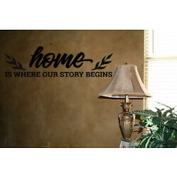 HOME IS WHERE OUR STORY BEGINS VINYL WALL DECAL WORDS STICKERS LETTERING DECOR