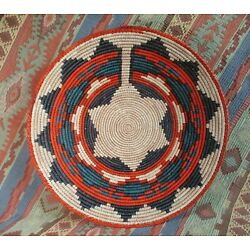 Southwestern Style Basket   Handmade Coil Basket  Fine Weave  approx 13 inches