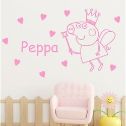 Peppa Pig Fairy Wall Sticker Decal With Personalised Name   Kids Vinyl Bedroom