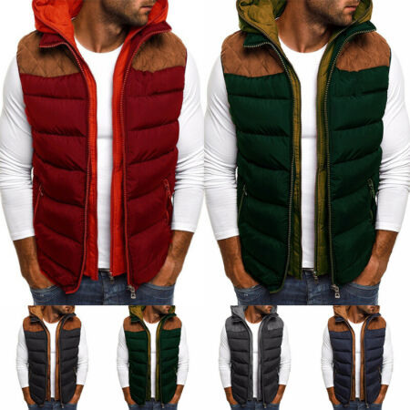 img-Mens Winter Down Quilted Vest Body Warmer Sleeveless Padded Parka Jacket Coat A+