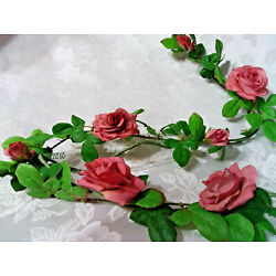 Home Interiors Petite Pink Mauve Wild Rose Garland/Wired/6 Feet Long/ New