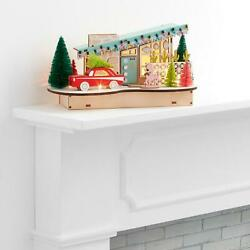 Woodcut Mid Century House  Accented with A Cherry-Red  LED Light Up Decor