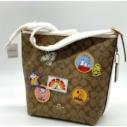 COACH X PEANUTS VAL DUFFLE C-BODY IN SIGNATURE CANVAS W/ PATCHES;C4112;NWT;$450