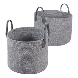 Large and Small Round Cotton Rope Floor Bins, Set of 2