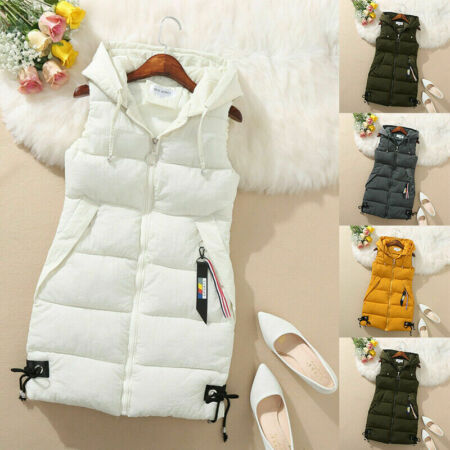 img-Womens Hooded Quilted Zip Up Gilet Waistcoat Padded Winter Vest Long Bodywarmer