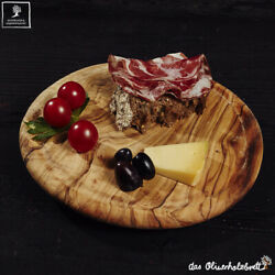 Olive Wood Chopping Board Breakfast Board Round With Groove for Juices 10 3/16in