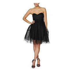 BETSEY JOHNSON Womens Black Strapless Mini Fit + Flare Party Dress  Size 14
