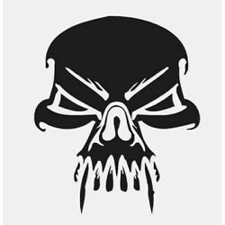 Skull Death Vampire Fang - Decal Sticker - Multiple Color & Sizes - 8 inch