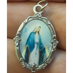 STERLING SILVER FILLED BLUE ENAMEL VIRGIN MARY MIRACULOUS MEDAL CHARM PENDANT