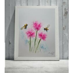 New Elle Smith large original signed watercolour art painting of Bee and Thistle
