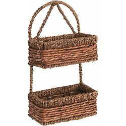 14-Inch Brown Hand-Woven Seagrass Wall Hanging 2-Tier Decorative Storage Basket