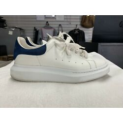 Alexander McQueen Oversized White Blue Leather Sneakers (Size 10 US)