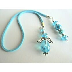 SKY BLUE CRYSTAL ANGEL BOOKMARK / SUN CATCHER  with RUSTIC SUEDE CORD 14.5''