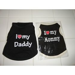 2 PC Heart I Love Mommy Daddy Dog Shirt Vest Costume Tee T Shirt Cat Puppy XS