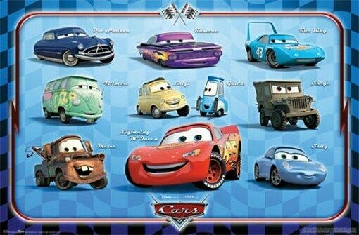 Cars Movie Characters: CARS Disney Pixar Characters Cast Movie POSTER