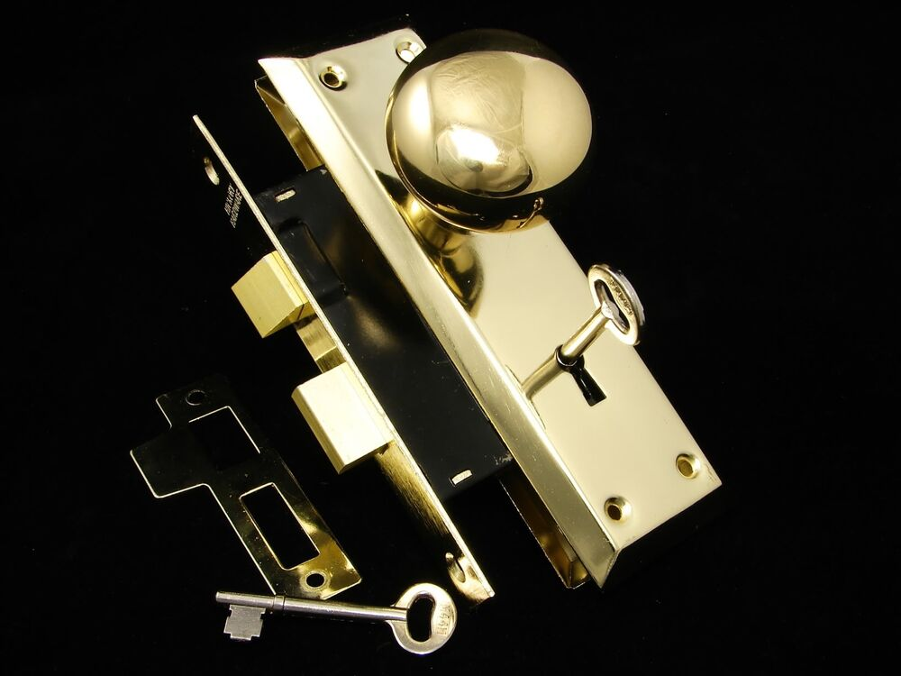 Antique Style Brass Door Knob Plates Mortise Lock Set New