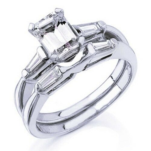 3 53 Ct Emerald Cut Diamond Engagement Ring Bridal Set Ebay